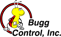 Bugg Control Logo. Cartoon image of a ladybug.